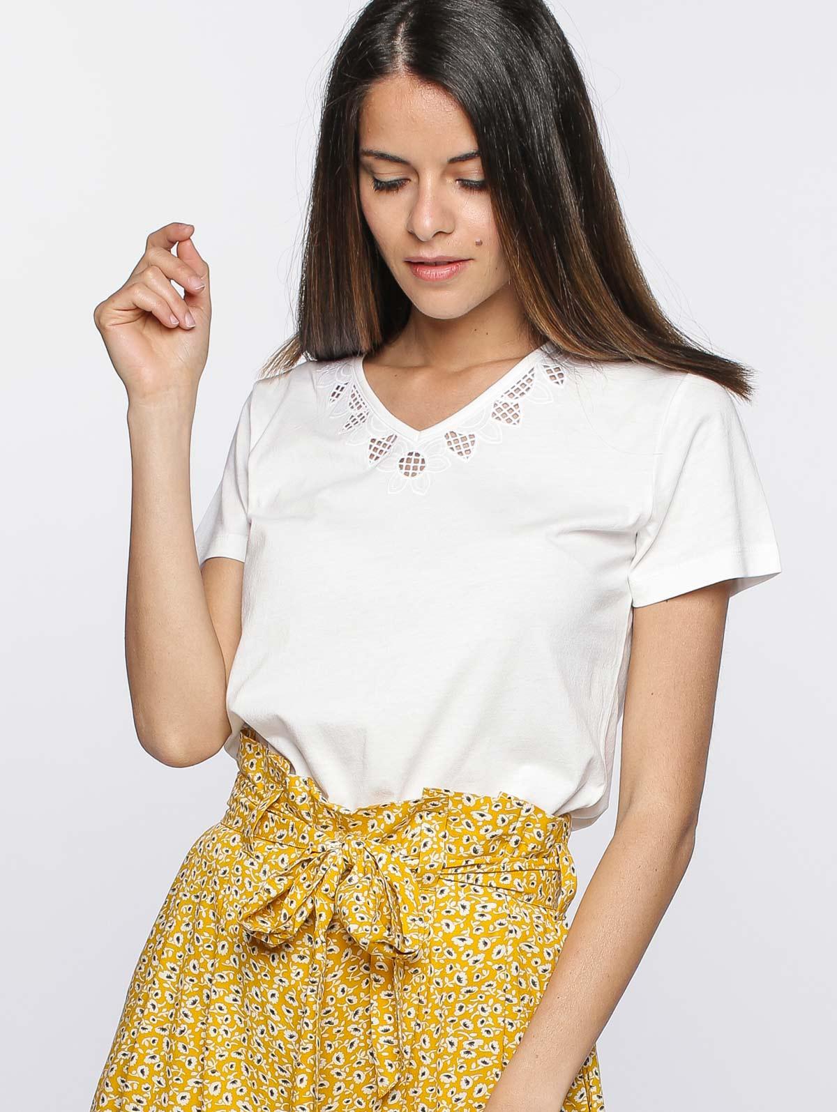 Tee-shirt blanc broderie