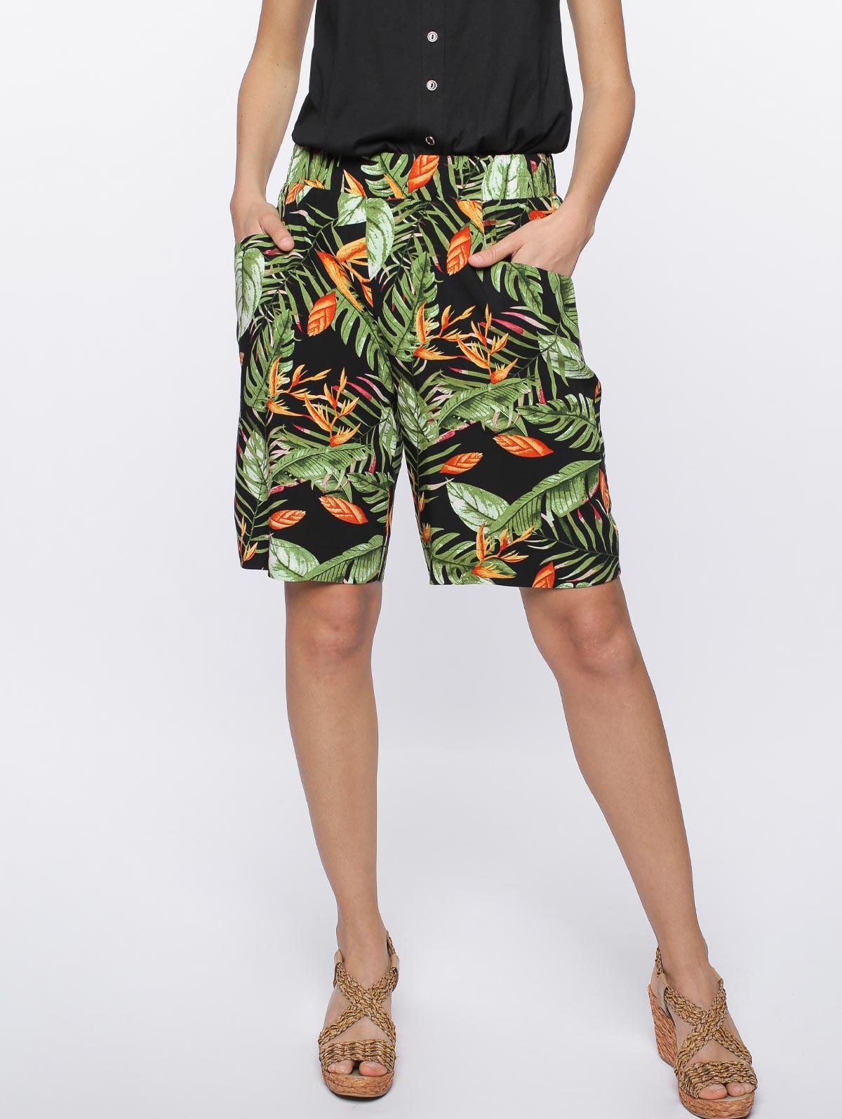 Bermuda imprimé tropical poches