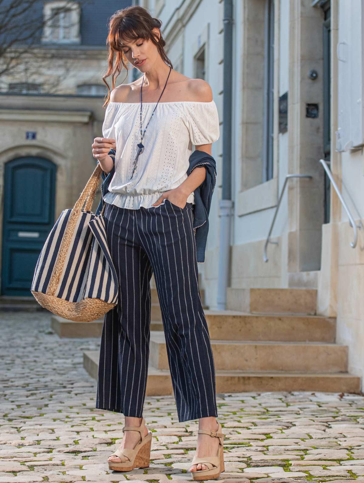 Pantalon large texturé rayé