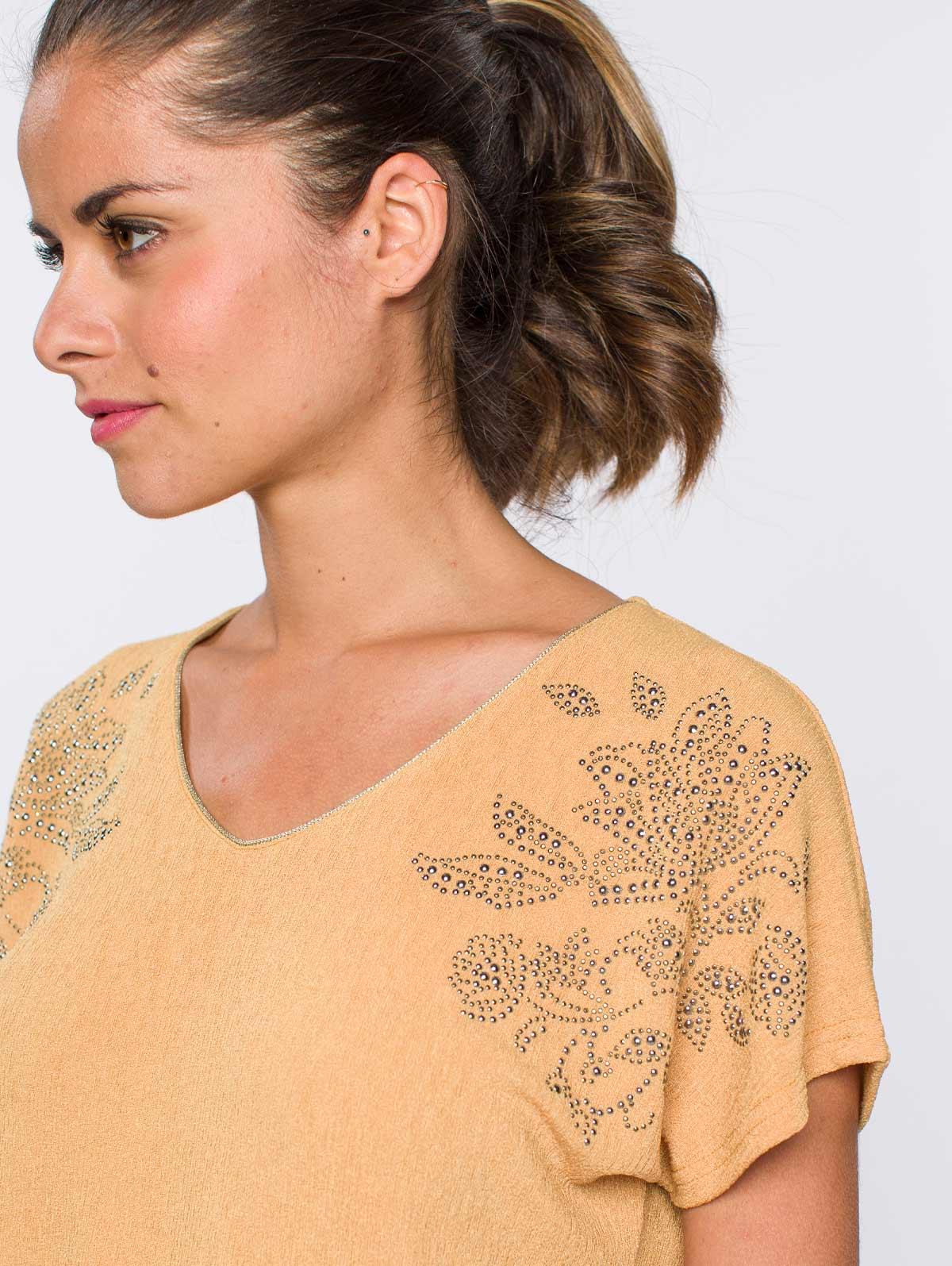 Top  fleurs strass épaules jaune - maboutiqueplus