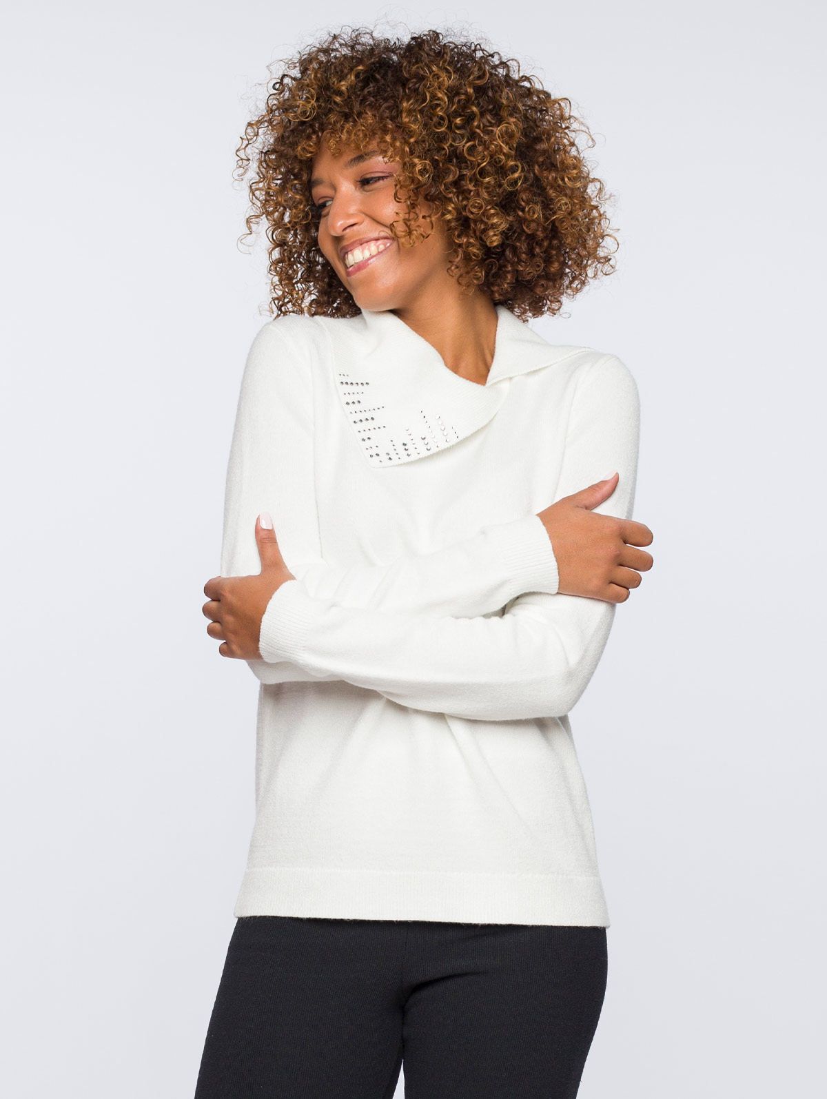 Pull col ouvert fantaisie strass - maboutiqueplus