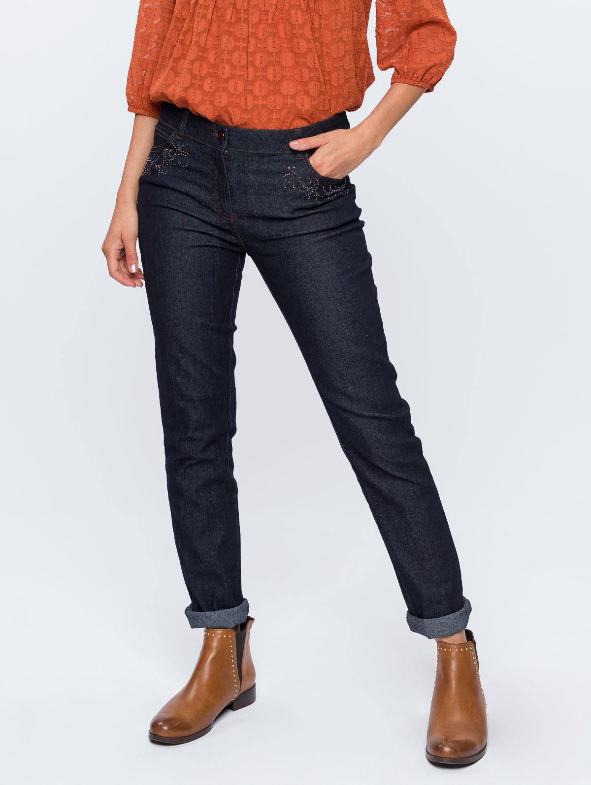 Jean poches arabesques strass stone - maboutiqueplus