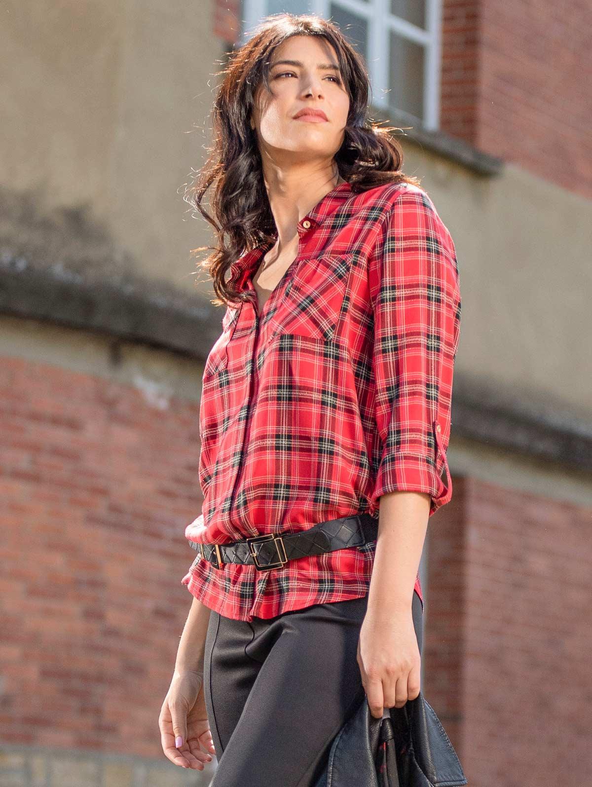 Chemise carreaux lurex poches rouge - maboutiqueplus