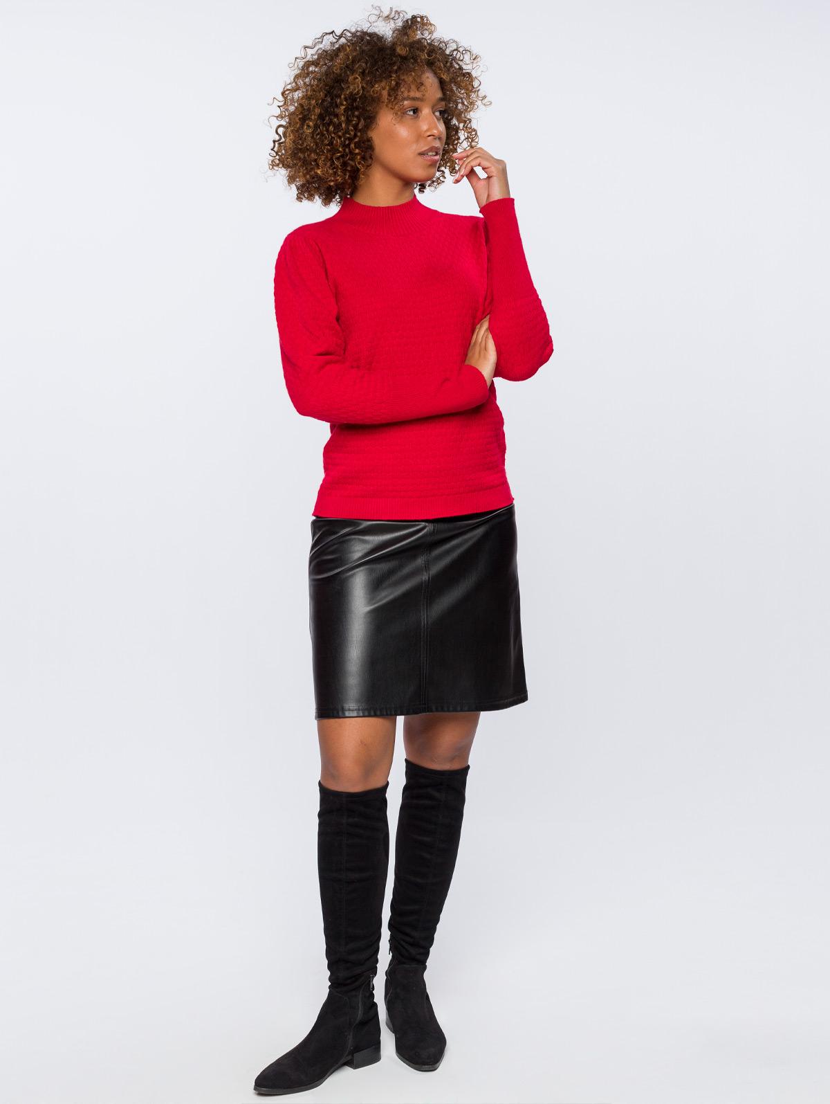 Jupe courte trapèze effet cuir noir - maboutiqueplus