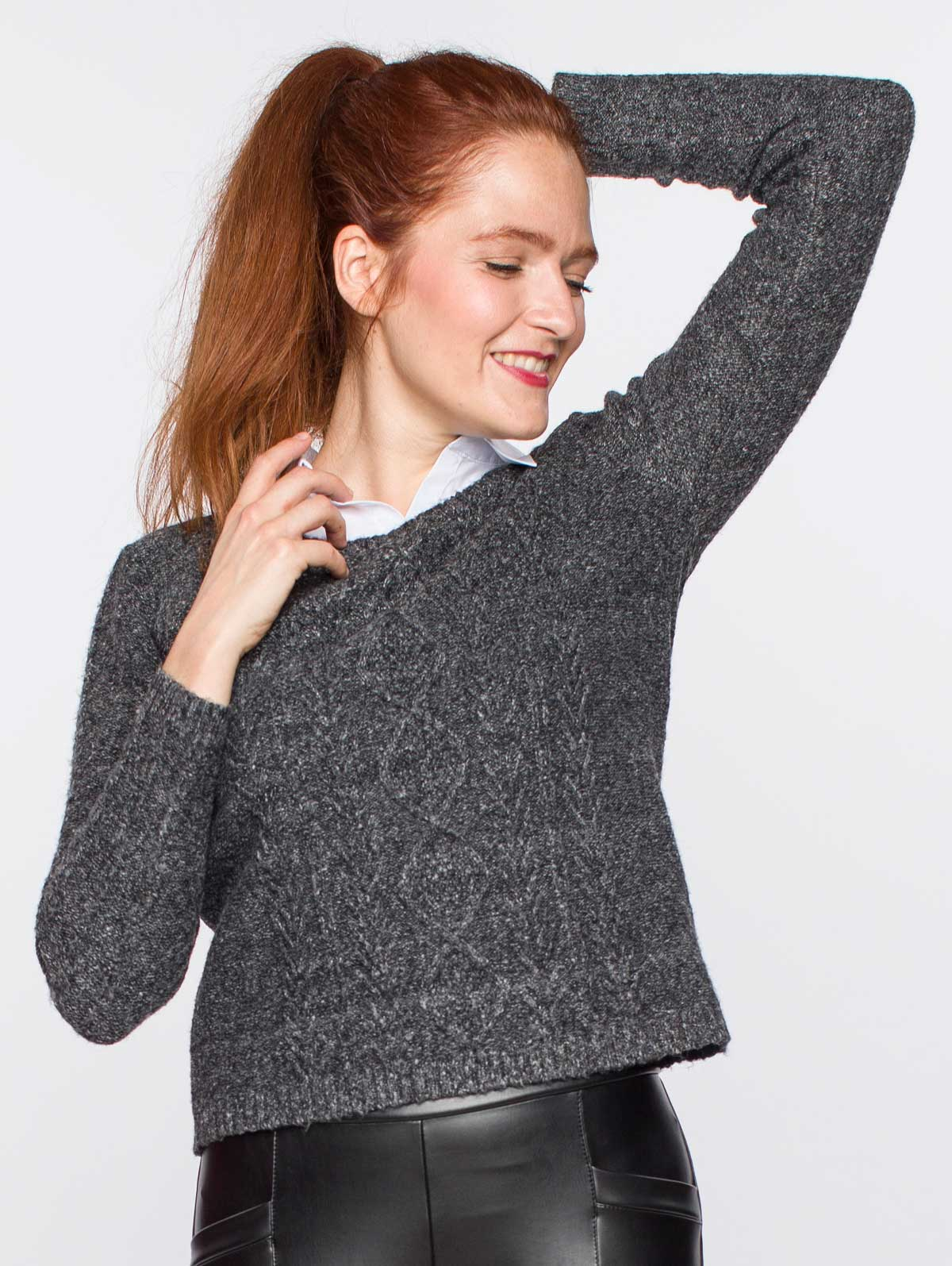 Pull faux-double torsades anthracite - maboutiqueplus