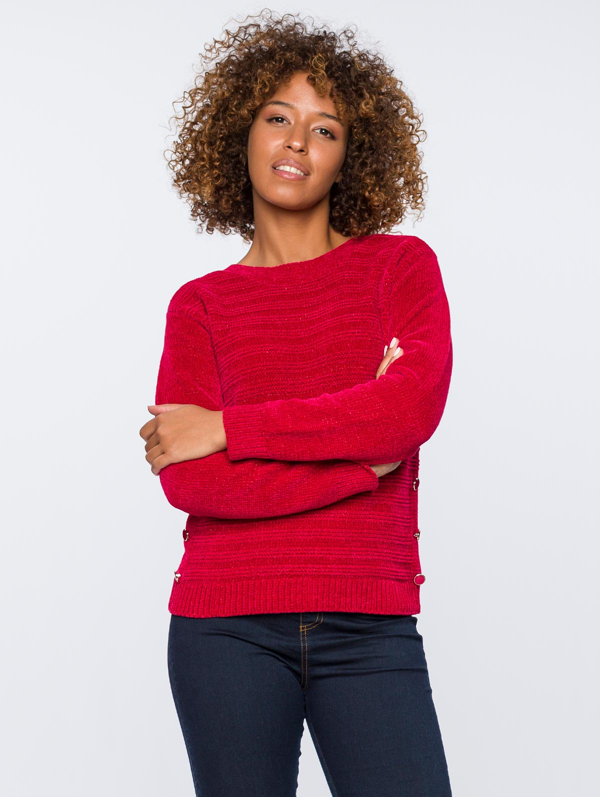 pull femme rouge maille chenille boutons cotes